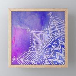 Mandala flower on watercolor background - purple and blue Framed Mini Art Print