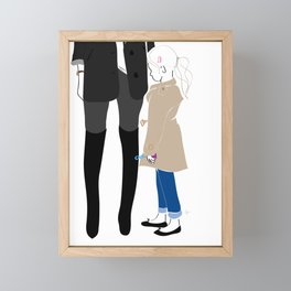 Fashion Mother Daughter Trench Girl with Bubbles Framed Mini Art Print