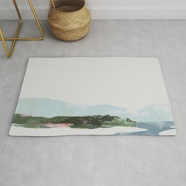 Mountain Vista with Big Sky and River, Winterscape Rug