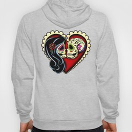 Ashes - Day of the Dead Couple - Kissing Sugar Skull Lovers Hoody