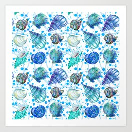 Seamless watercolor marine pattern. Endless texture. Hand draw. Collection of shells on white backgr Art Print
