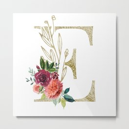 Gold Foil Monogram Letter E with watercolor flowers Metal Print