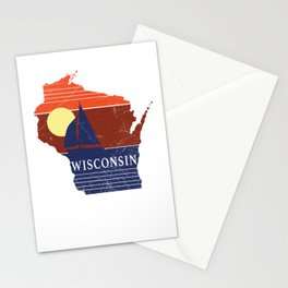 Wisconsin State WI Sailboat Sunset Print Stationery Cards