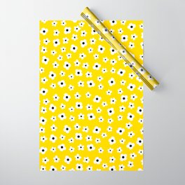 White Yellow Spring Flower Pattern Wrapping Paper
