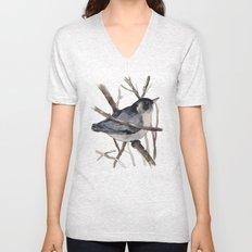 Grey Birdy 2 Unisex V-Neck