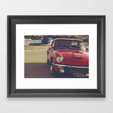 Fine art print, classic car, red, triumph, beach, italy, interior design, old car, still life, decor Framed Art Print