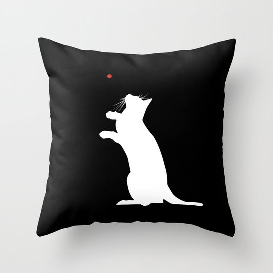 Laser Kitty Throw Pillow