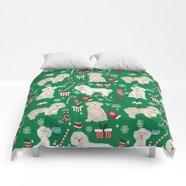 Cockapoo dog breed christmas holiday pet portrait pattern gifts Comforters