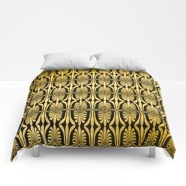 Chic Art Deco Gold Elegant Fan Pattern Comforters