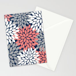 Flower Burst Petals Floral Pattern Navy Coral Gray Stationery Cards