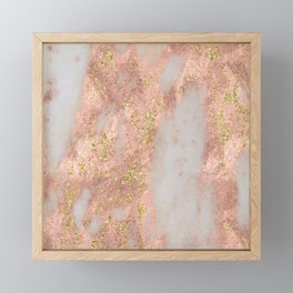 Rose Gold Marble with Yellow Gold Glitter Framed Mini Art Print