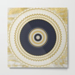 Gold Glittery Navy Bohemian Mandala Metal Print