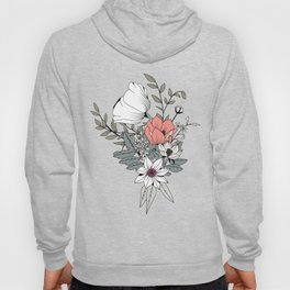 Seamless pattern design with hand drawn flowers and floral elements Hoody