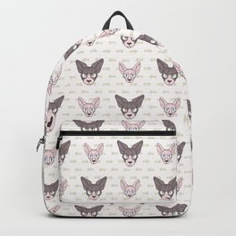 Cute cartoon pet sphynx kitten and cat face. Pedigree exotic kitty breed domestic cat background. Cat lover black Asian purebred. Hairless feline.  Backpack