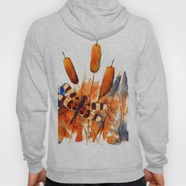 Banded Dragonfly and Cattails Hoody