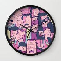 ale giorgini Wall Clocks featuring Grand Hotel by Ale Giorgini