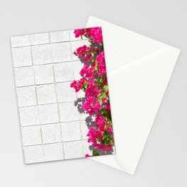 Bougainvilleas and White Brick Wall in Palm Springs, California Stationery Cards