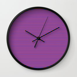 Even Horizontal Stripes, Blue and Red, XS Wall Clock