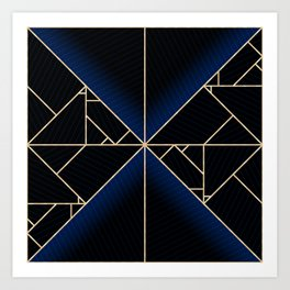 Deco Triangles Blue Art Print