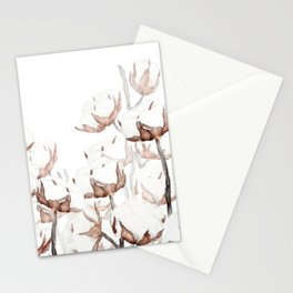 white cotton field watercolor  Stationery Cards