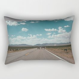 cows on the open road Rectangular Pillow