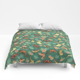 Gecko family in green Comforters