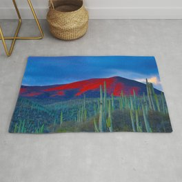 Green Cactus Field In The Desert With Red Mountains Blue Grey Sky Landscape Photography Rug