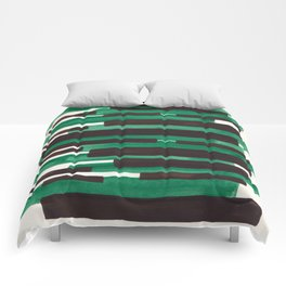Deep Green Turquoise Primitive Stripes Mid Century Modern Minimalist Watercolor Gouache Painting Col Comforters