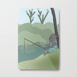 Fishing Bear, nursery, original artwork Metal Print