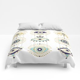 Evil Eye Collection on White Comforters