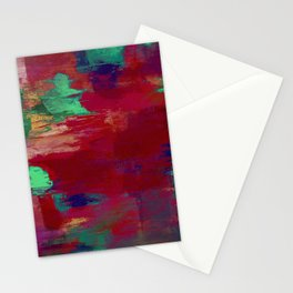 Crimson Overflow - Abstract, red, crimson, green, purple oil painting Stationery Cards