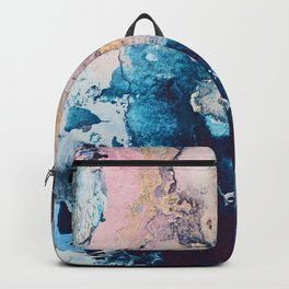 Breathe Again: a vibrant mixed-media piece in blues pinks and gold by Alyssa Hamilton Art Backpack