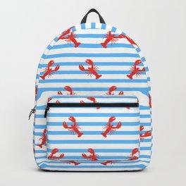 Lobster Pattern Blue Stripes #home #decor #summer #orange #animals #sea #beach #pattern Backpack