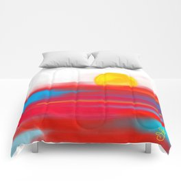 Sketchy Sun and Sea. Sunset and Sunrise Sketch Comforters