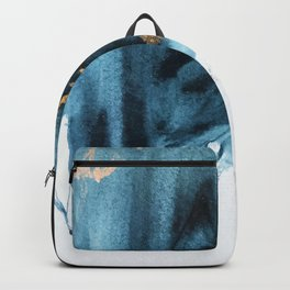 A Minimal Sapphire and Gold Abstract piece in blue white and gold by Alyssa Hamilton Art  Backpack