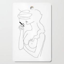 Woman Smoking Cutting Board