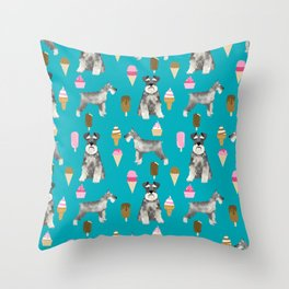 schnauzer ice cream dog breed pet pattern dog mom Throw Pillow
