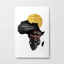 Africa Map Afrocentric Black Woman Portrait Metal Print