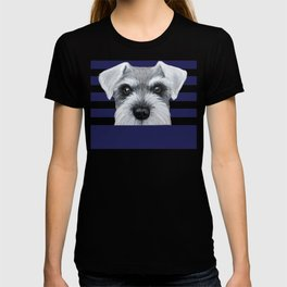 Schnauzer Grey&white, Dog illustration original painting print T-shirt