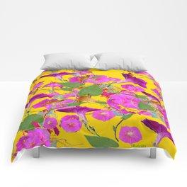 Pink Morning Glories on Golden Yellow Art Design Comforters