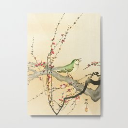 Songbird on peach tree - Vintage Japanese Woodblock Print Art Metal Print