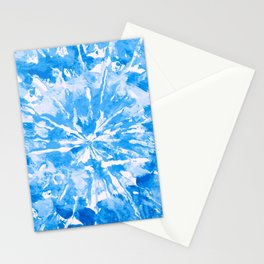 Blue Cobalt Aqua Tie-Dye Colored Pattern Design // Hand Painted Mandala Multi Media Abstract Stationery Cards