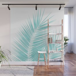 Soft Turquoise Palm Leaves Dream - Cali Summer Vibes #1 #tropical #decor #art #society6 Wall Mural