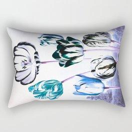 Blue Teal Tulips : Temple of Flora Rectangular Pillow