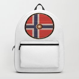 Round Viking Shield With Norwegian Flag Backpack