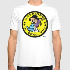 HAPPINESS IS A DEAD PUPPY. Mens Fitted Tee White MEDIUM
