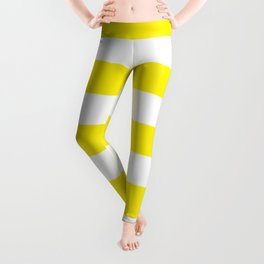 Canary yellow - solid color - white stripes pattern Leggings