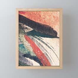 Thunder&Lightning {3}: Minimal watercolor abstract in pinks, blues, and greens Framed Mini Art Print