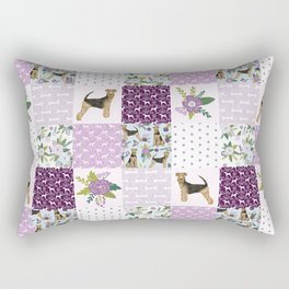 Airedale Terrier Cheater Quilt -  patchwork, airedale, dog, blanket, cute design Rectangular Pillow