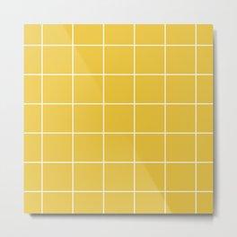 White Grid - Yellow BG Metal Print